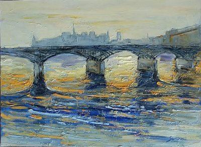 Jean-Paul Surin   La seine au pont des arts  Galerie Mickael Marciano   Place des Vosges Paris   Art Gallery