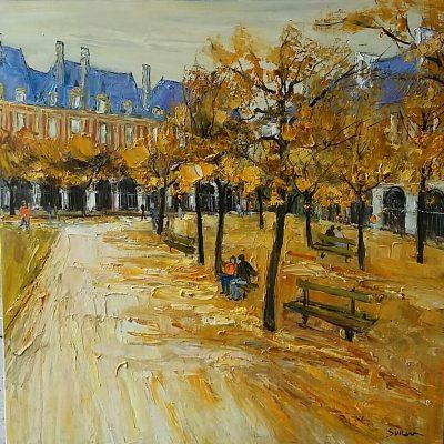 Jean-Paul Surin   les bancs  Galerie Mickael Marciano   Place des Vosges Paris   Art Gallery
