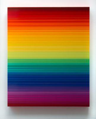 Thierry Feuz Artiste | Technicolor Horizon | lignes colorées rainbow arc en ciel | Galerie Mickaël Marciano Place des Vosges Paris