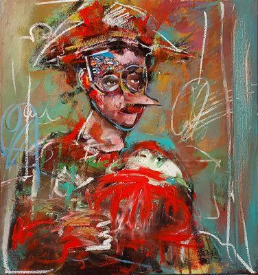 Arka artiste   Pinocchio   Peinture   Expressionnisme contemporain   Art Contemporain figuratif   Couleur   Galerie d'art Mickael Marciano   Paris Place des Vosges
