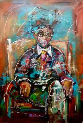 Arka artiste   Chez le psy   Peinture   Expressionnisme contemporain   Art Contemporain figuratif   Couleur   Galerie d'art Mickael Marciano   Paris Place des Vosges