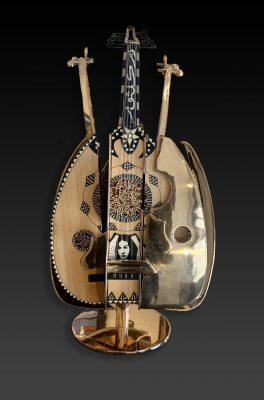 Arman Artiste   Oud Kalthoum   Sculpture bronze violon Oud prisonnier   Mickaël Marciano Art Gallery Paris