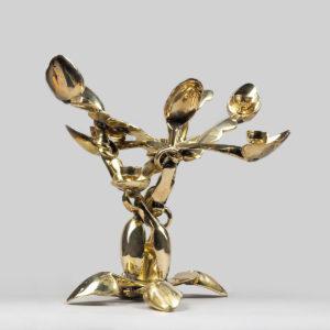 Arman Artist   Bougeoir aux cuillères   doré gold New realism école de Nice   Galerie Mickaël Marciano   Paris.