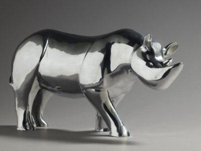 Brigitte Teman Artist | Rhinoceros | aluminium sculpture | Mickaël Marciano Art Gallery Paris