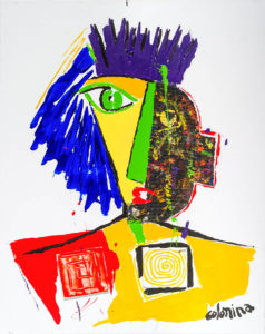 artiste Jorge Colomina Black and Yellow | Picasso abstract figurative painting | Mickaël Marciano Art Gallery Paris