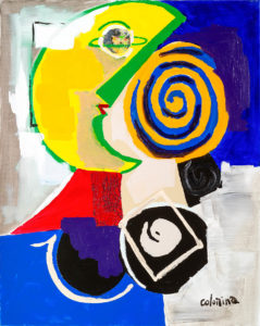 artiste Jorge Colomina Bonjour la Lune | Picasso abstract figurative painting | Mickaël Marciano Art Gallery Place des Vosges
