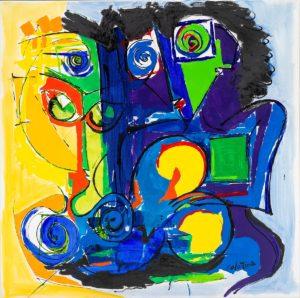 artiste Jorge Colomina Dans la pénombre | Picasso abstract figurative painting | Galerie Mickaël Marciano Art Place des Vosges