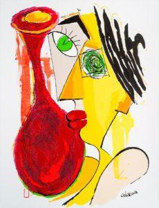artist Jorge Colomina Fiole Rouge | Picasso Figuration abstraite | Galerie Mickaël Marciano Art contemporain Paris