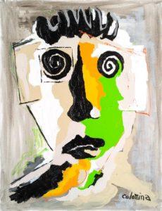 artiste Jorge Colomina La joue Verte | Picasso Figuration abstraite | Galerie Mickaël Marciano Art Place des Vosges