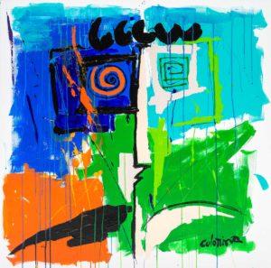 artiste Jorge Colomina Sous la Pluie | Picasso abstract figurative painting | Mickaël Marciano Art Gallery Place des Vosges