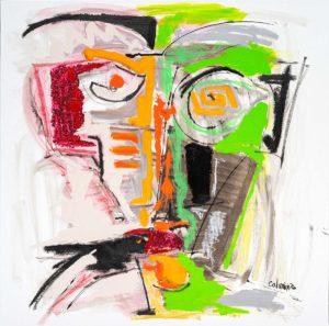 artiste Jorge Colomina Visage Tribal | Picasso Figuration abstraite | Galerie Mickaël Marciano Art contemporain Paris
