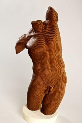 Olivier Duhamel Artist | Bruce | sculpteur bois lasercut orange homme | Galerie Mickaël Marciano Place des Vosges Paris