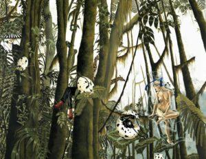 Artist DHOFFER Calembredaines au diapason volatil | Dominique Hoffer Surréalisme Surrealism Jungle telephone | Mickaël Marciano Art Gallery Paris