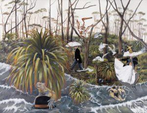 Artiste DHOFFER Dominique Hoffer Fariboles et coquecigrues | Surréalisme Jungle magritte préhistoire iguane | Galerie Mickaël Marciano Art Place des Vosges