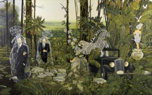 Artiste DHOFFER Hypnotique ritournelle des apparences | Dominique Hoffer Surréalisme Jungle guépard cheetah | Galerie Mickaël Marciano Art contemporain Paris