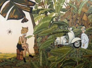 Artiste DHOFFER La transgression des interdits | Dominique Hoffer Jungle Surrealism guépard Cheetah Vespa spider | Mickaël Marciano Art Gallery Paris