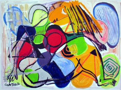 artiste Jorge Colomina Au Clair de Lune Picasso | abstract figurative painting | Galerie Mickaël Marciano Art Place des Vosges