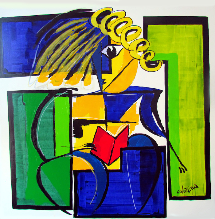 artiste Jorge Colomina Le Livre rouge   Picasso abstract figurative painting   Mickaël Marciano Art Gallery Paris