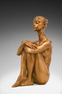 Jacques le Nantec Sphinx | Nu féminin Bronze gold | Artiste Galerie Mickaël Marciano Art Place des Vosges