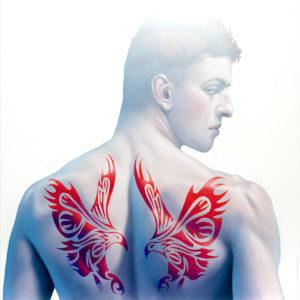 Andrzej Malinowski Artiste | Deux aigles | hyperréalisme tatouage eagle tattoo | Galerie Mickaël Marciano Place des Vosges Paris