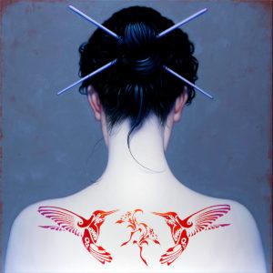 Andrzej Malinowski Artist | Colibri | hyperrealism red tattoo | Galerie Mickaël Marciano Place des Vosges Paris
