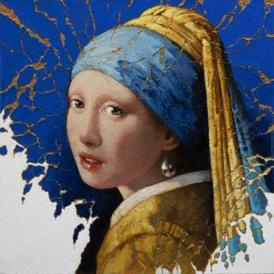 Andrzej Malinowski Artiste | Jeune fille à la perle d'après Vermeer | hyperréalisme vermeer | Galerie Mickaël Marciano Place des Vosges Paris