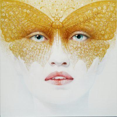 Andrzej Malinowski Artiste | Papillon | hyperréalisme femme | Galerie Mickaël Marciano Place des Vosges Paris