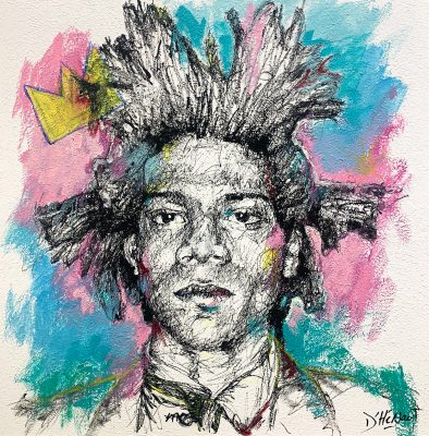 Nathalie D'Hénault Artist | Basquiat | line portrait icone pop star | Marciano Contemporary Art Gallery Place des Vosges