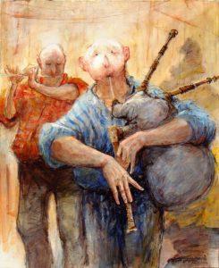 Artist Marcel Pajot Cornemuseux | Peinture Venise Masque | Galerie Mickaël Marciano Art Place des Vosges