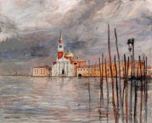 Artist Marcel Pajot Orage sur San Giorgio | Peinture Venise | Mickaël Marciano Art Gallery Place des Vosges