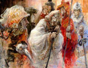 Artist Marcel Pajot Tragédie | Peinture Venise Masque | Galerie Mickaël Marciano Art contemporain Paris