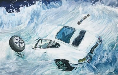 Marcello Artist | Atlantique blue | Marciano Contemporary | Hyperrealism painting | cars underwater.