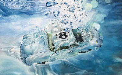 Marcello Artist | Double 8 | Marciano Contemporary | Hyperrealism painting | cars underwater.