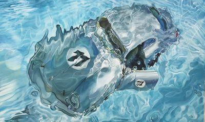 Marcello Artist | Porsche n77 | Marciano Contemporary | Hyperrealism painting | cars underwater.
