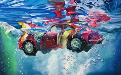 Marcello Artist | Rainbow Porsche | Marciano Contemporary | Hyperrealism painting | cars underwater.