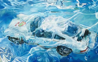 Marcello Artist | Porsche Shell | Marciano Contemporary | Hyperrealism painting | cars underwater.
