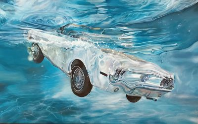 Marcello Artist | White Mustang | Marciano Contemporary | Hyperrealism painting | cars underwater.