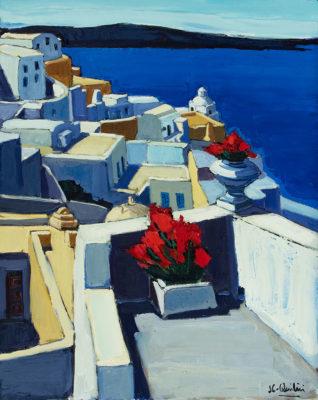 Jean -laude Quilici Balcon fleuri à Santorin | landscape figurative painting | Artist Mickaël Marciano Art Gallery Paris