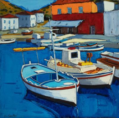 Jean-Claude Quilici Barques de pêcheurs à Kaminia | Paysage figurative painting | Artiste Galerie Mickaël Marciano Art contemporain Paris