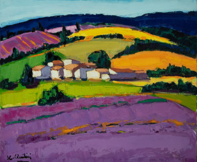 Jean Claude Quilici Champs de lavandes | Paysage figurative painting | Artist Mickaël Marciano Art Gallery Place des Vosges