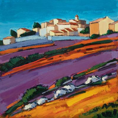 Jean-claude Quilici Champs de lavandes à Aurel | Landscape figurative painting | Artiste Galerie Mickaël Marciano Art Place des Vosges