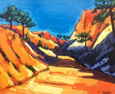 Jean-Claude Quilici Chemin dans les falaises en Algarve | Paysage figurative painting | Artiste Galerie Mickaël Marciano Art contemporain Paris