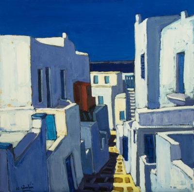 Jean-Claude Quilici Descente dans la ruelle Mykonos | Landscape figurative painting | Artiste Galerie Mickaël Marciano Art Place des Vosges