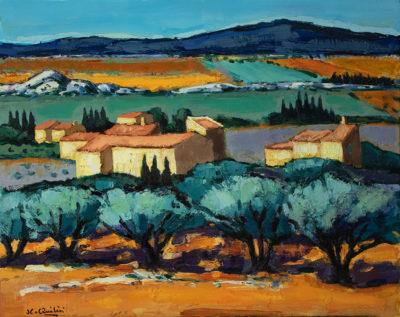 Jean-Claude Quilici Environs Eygalieres | landscape figurative painting | Artist Mickaël Marciano Art Gallery Paris
