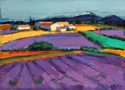Jean-Claude Quilici Lavandes devant le ventoux | landscape figurative painting | Artist Mickaël Marciano Art Gallery Paris