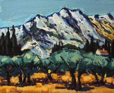 Jean Claude Quilici Les calans à Maussane | Paysage figurative painting | Artist Mickaël Marciano Art Gallery Place des Vosges