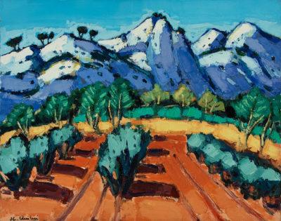 Jean-Claude Quilici Les roches bleues au Destet | landscape figurative painting | Artist Mickaël Marciano Art Gallery Paris