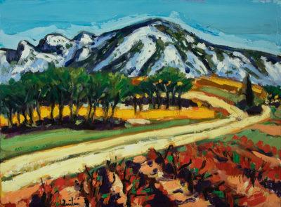 Jean-Claude Quilici Les vignes rouges aux Alpilles | Paysage figurative painting | Artiste Galerie Mickaël Marciano Art contemporain Paris