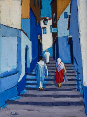 Jean-Claude Quilici Montée dans la ruelle bleue chef chouan | landscape figurative painting | Artist Mickaël Marciano Art Gallery Paris