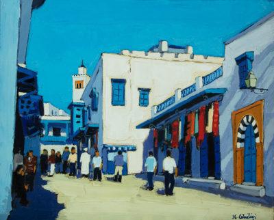 Jean-Claude Quilici Montée vers le café des nattes Sidi bou | Paysage figurative painting | Artiste Galerie Mickaël Marciano Art contemporain Paris
